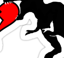 Dinosaur eats heart Sticker