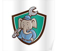 Elephant Mechanic Spanner Shoulder Crest Cartoon Poster
