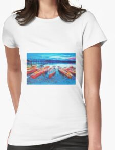 Canoes on the side Womens Fitted T-Shirt
