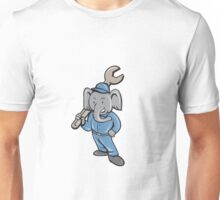 Elephant Mechanic Spanner Standing Cartoon Unisex T-Shirt