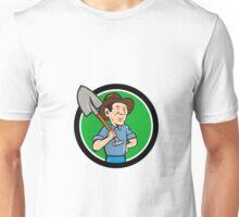 Farmer Shovel Shoulder Circle Cartoon Unisex T-Shirt