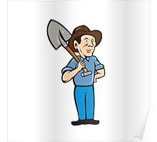 Farmer Shovel Shoulder Standing Cartoon Poster