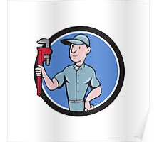 Handyman Monkey Wrench Circle Cartoon Poster