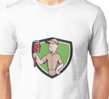 Handyman Monkey Wrench Crest Cartoon Unisex T-Shirt