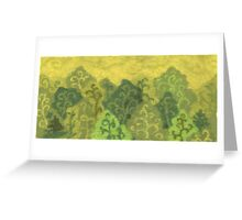 Green forest, wool painting, summer landscape in green & yellow Greeting Card