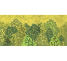 Green forest, wool painting, summer landscape in green & yellow Photographic Print