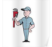 Handyman Monkey Wrench Standing Cartoon Poster