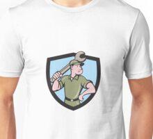 Mechanic Wielding Spanner Crest Cartoon Unisex T-Shirt