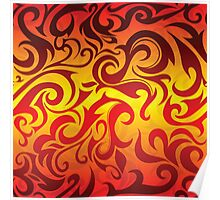 Red, yellow and gold vector pattern Poster