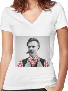 Hipster Nietzsche Women's Fitted V-Neck T-Shirt