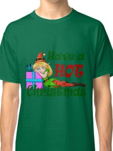 Elf Girl Leaning On Present For Christmas Classic T-Shirt