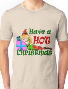 Elf Girl Leaning On Present For Christmas Unisex T-Shirt