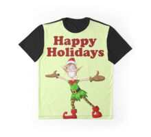 Christmas Elf Spreading Arms And Smiling Graphic T-Shirt