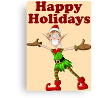 Christmas Elf Spreading Arms And Smiling Canvas Print
