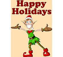 Christmas Elf Spreading Arms And Smiling Photographic Print