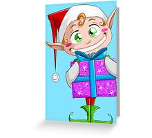 Christmas Elf Holding A Present Greeting Card
