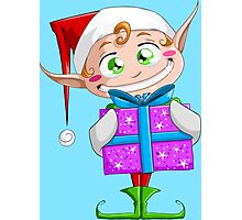 Christmas Elf Holding A Present Photographic Print