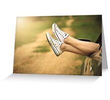 lady legs out of car  Greeting Card