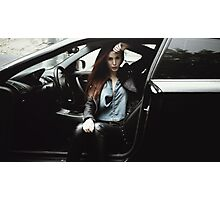 model sit in the car  Photographic Print