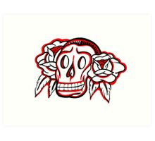 """Bold-School"" Candy Skull. Art Print"