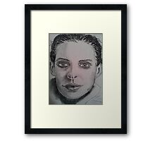 Charcoal portrait young woman Framed Print