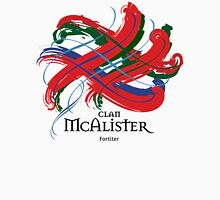 Clan McAlister - Prefer you gift on Black/White, let us know at info@tangledtartan.com Unisex T-Shirt