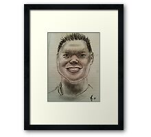 Charcoal sketch of smiling man Framed Print