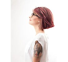 red hair  girl wearing glasses Photographic Print