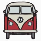Red White Campervan (slightly cubist) by Ra12