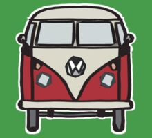 Red White Campervan (slightly cubist) Kids Clothes