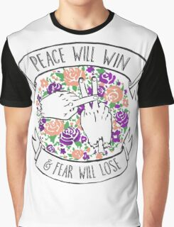 Peace will win floral Graphic T-Shirt