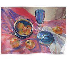 Blue bowl & apples Poster
