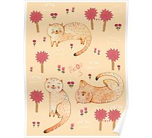 Orange Cat Pattern Poster