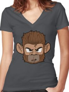 Cool Monkey With Cigar Women's Fitted V-Neck T-Shirt