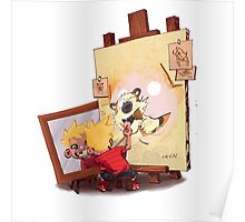 calvin was painting Hobbes Poster