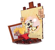 calvin was painting Hobbes Photographic Print