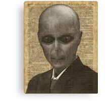 Elegant Alien,UFO in Suit,Vintage Illustration,Dictionary Art Canvas Print