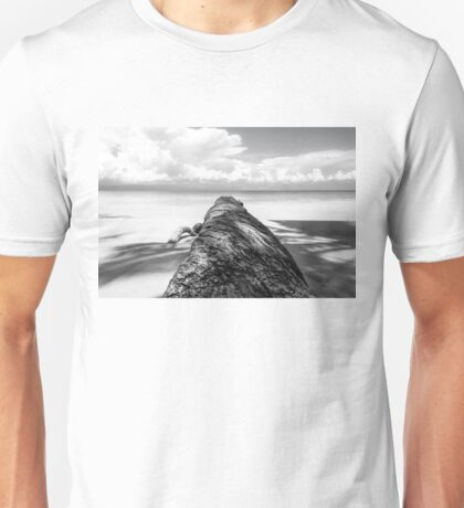 Fallen palm tree in black and white Unisex T-Shirt