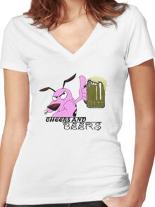 Cheers And Beers Courage Dog Women's Fitted V-Neck T-Shirt