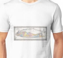 Vintage Map of Long Island New York (1857) Unisex T-Shirt