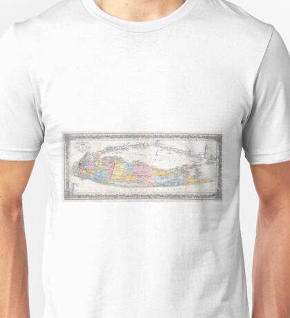 Vintage Map of Long Island New York (1857) Unisex T-Shirt