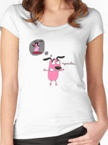 dog courage to imagine a horror Women's Fitted Scoop T-Shirt