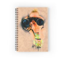 Young blond woman with binoculars Spiral Notebook