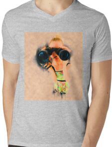 Young blond woman with binoculars Mens V-Neck T-Shirt