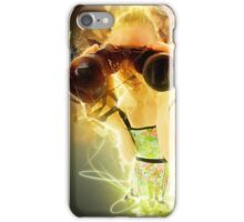 Young blond woman with binoculars  iPhone Case/Skin