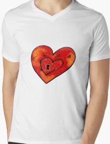 Metal heart Mens V-Neck T-Shirt