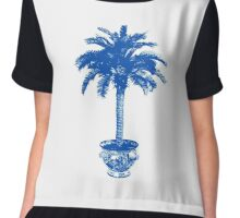 Potted Palm Tree, cobalt blue and white Chiffon Top