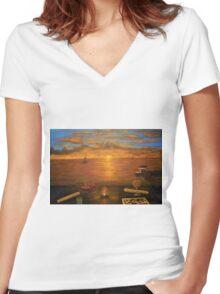 Florida Key's Sunset Dinner Women's Fitted V-Neck T-Shirt
