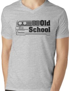 E30 Old School - Black Mens V-Neck T-Shirt