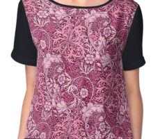 Art Nouveau Seaweed Floral, Fuchsia Pink Chiffon Top